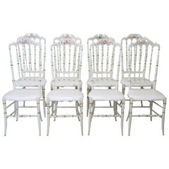 19th Century Italian Set of eight Turned and Lacquered Famous Chiavari Chairs
