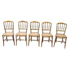19th Century Italian Set of Five Turned Wood Famous Chiavari Chairs