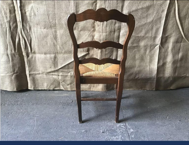 Late 19th Century 19th Century Italian Set of Six Dining Chairs with Straw Seat, 1890s For Sale
