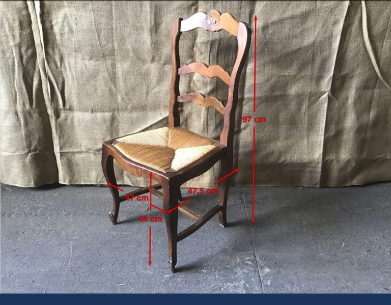 19th Century Italian Set of Six Dining Chairs with Straw Seat, 1890s For Sale 3