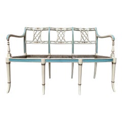 19th Century Italian Settee with a White, Blue and Gold Leaf Finish