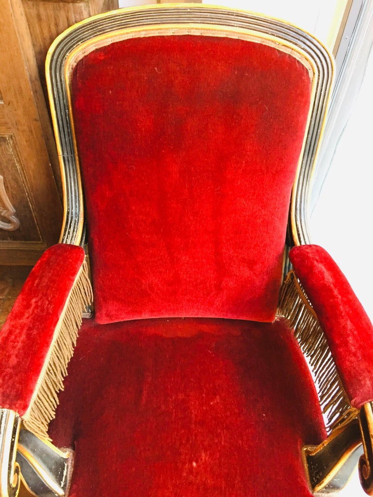 19th Century Italian Sicilian Armchair and Footrest Lacquer Gilding Red Velvet 2