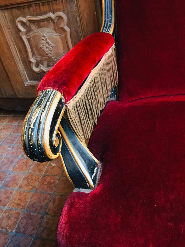 19th Century Italian Sicilian Armchair and Footrest Lacquer Gilding Red Velvet 5