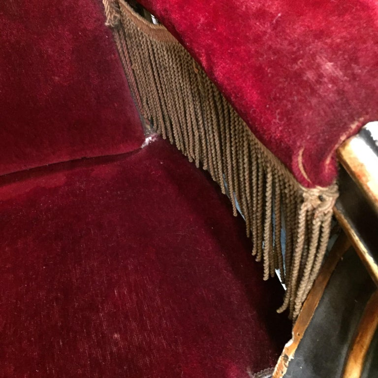 19th Century Italian Sicilian Armchair and Footrest Lacquer Gilding Red Velvet 8