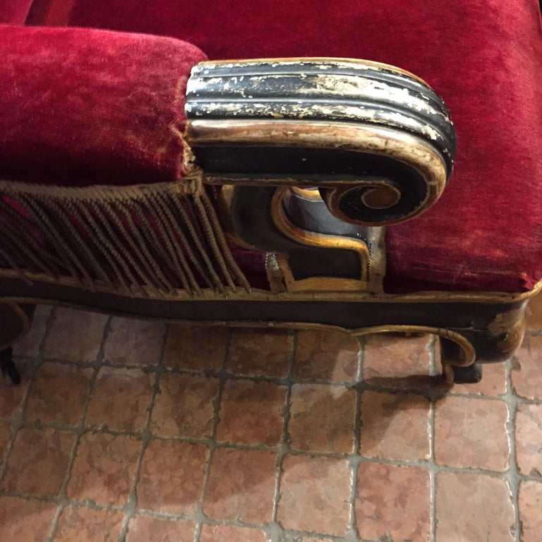 19th Century Italian Sicilian Armchair and Footrest Lacquer Gilding Red Velvet 10