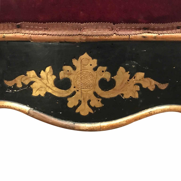 Louis Philippe 19th Century Italian Sicilian Armchair and Footrest Lacquer Gilding Red Velvet