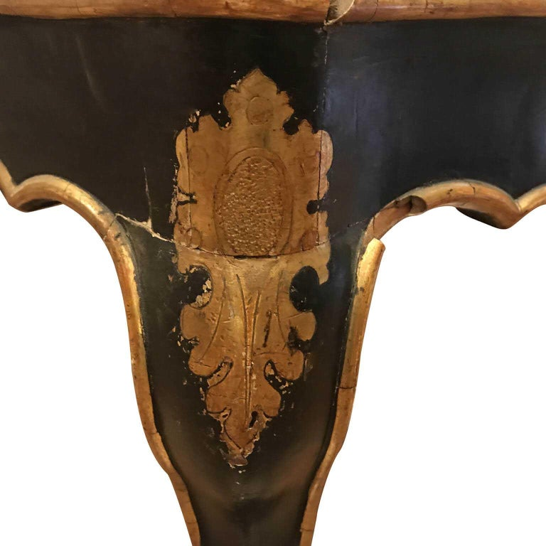 Carved 19th Century Italian Sicilian Armchair and Footrest Lacquer Gilding Red Velvet