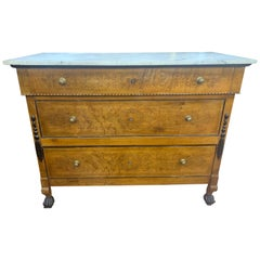 19th Century Italian Sicily Charles X Cherry Chest of Drawers Marble, 1815
