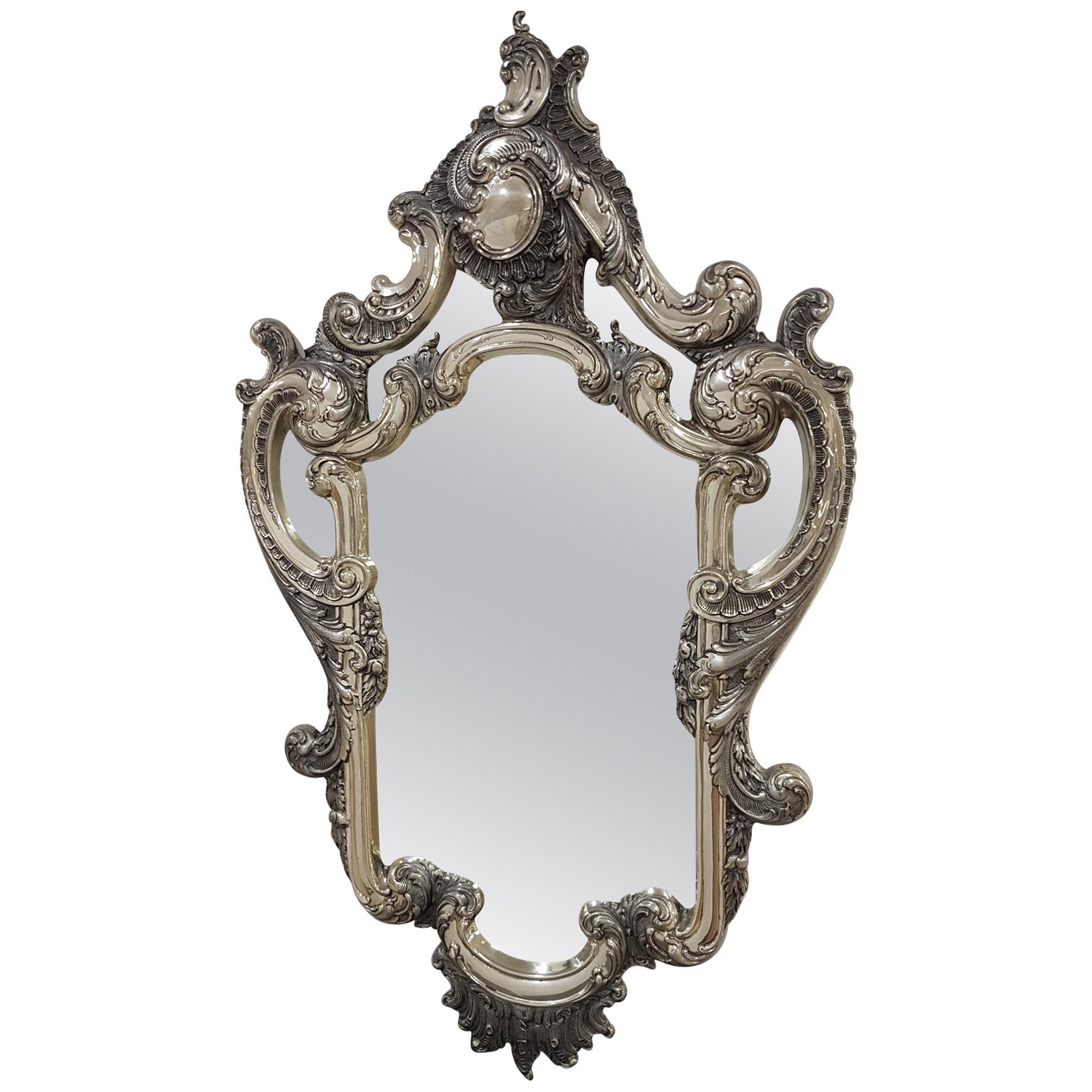 20th Century Italian Silver Barocco Wall Mirror