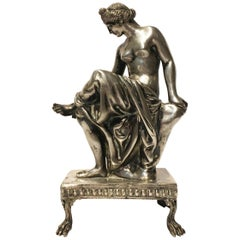 19th Century Italian Silver Sculpture of a Bathing Venus sitting on a Rock