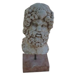 19th Century Italian Socrates Mask, Carrara, Rosso Verona Marble Sculpture