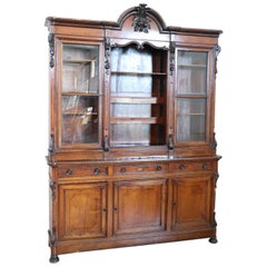 19th Century Italian Solid Cherrywood Antique Large Sideboard or Bookcase