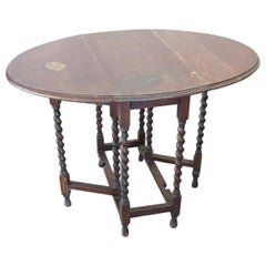 19th Century Italian Solid Oak Wood Folding and Serving Table