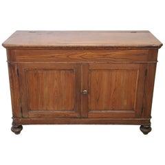 19th Century Italian Solid Oak Wood Small Rustic Sideboard, Buffet or Credenza