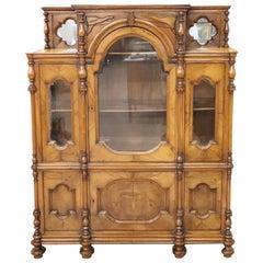 19th Century Italian Solid Walnut Antique Cabinet or Vitrine