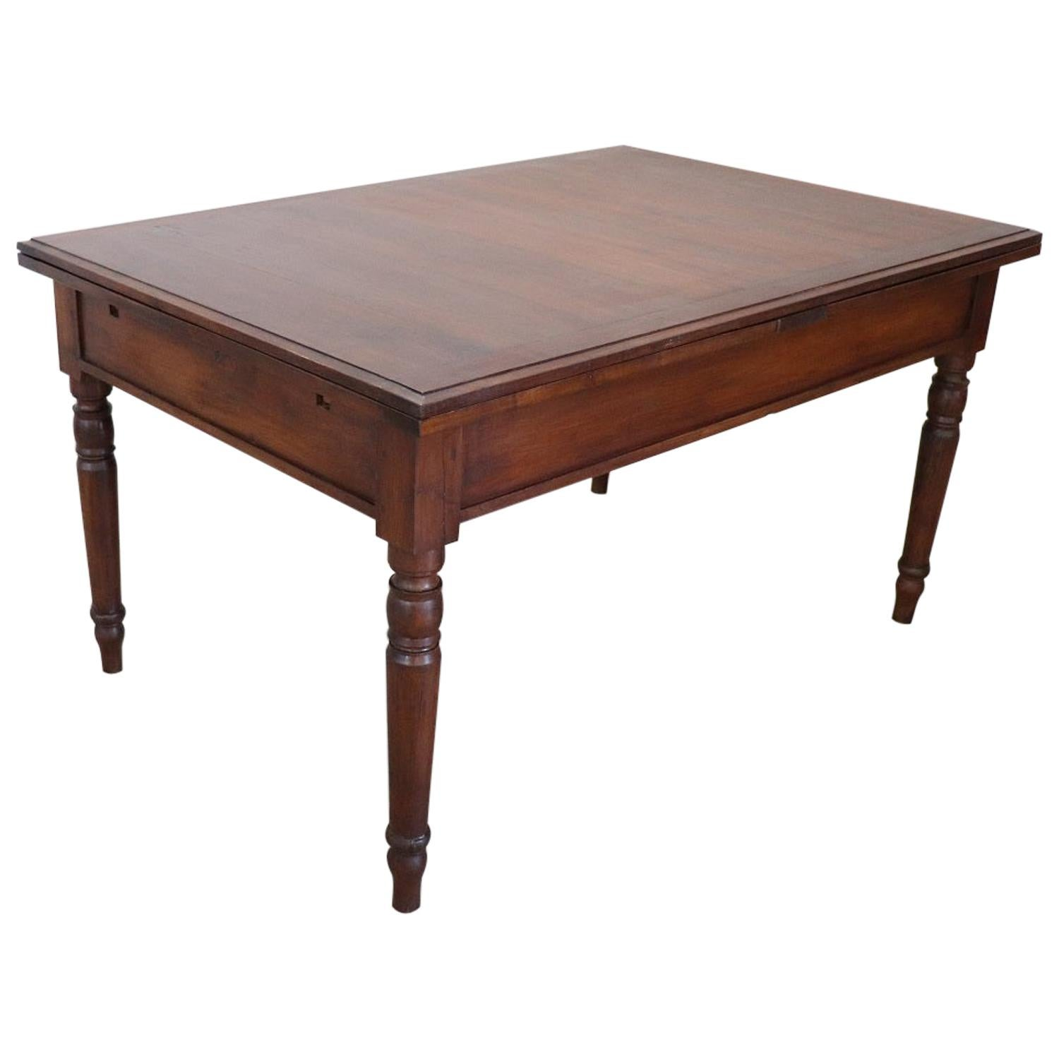 19th Century Italian Solid Walnut Extendable Antique Dining Room Table