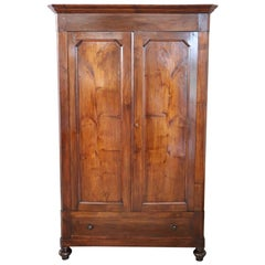 19th Century Italian Solid Walnut Wood Antique Wardrobe or Armoire