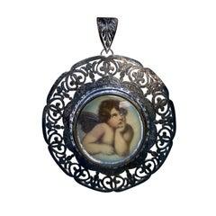 19th Century Italian Sterling Silver Filigree Framed Gouache Angel