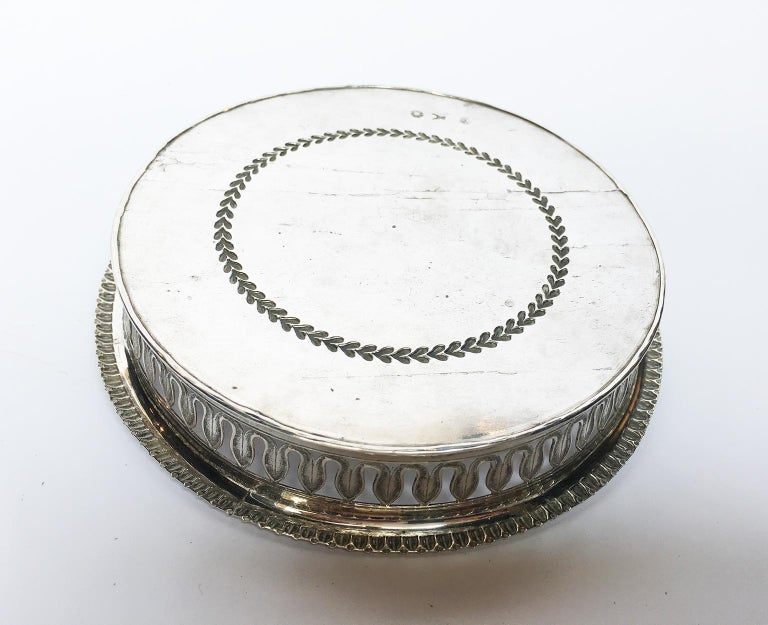 19th Century Italian Sterling Silver Glass and Wine Coasters, circa 1830 For Sale 4