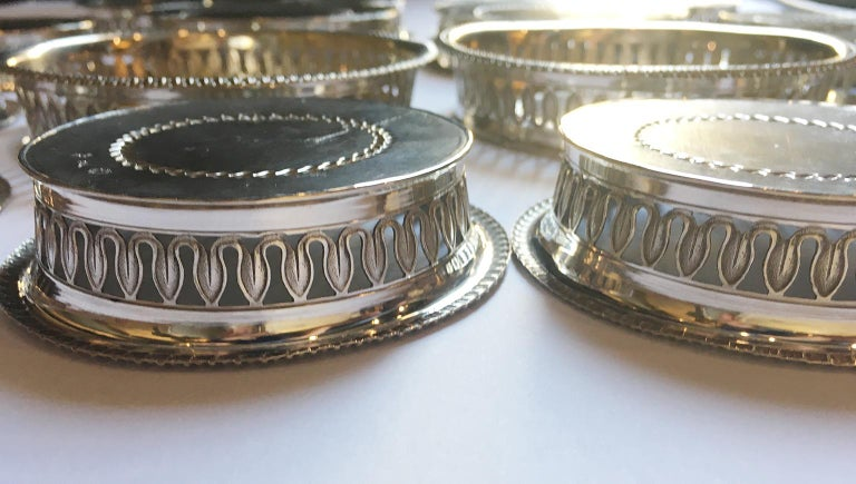 19th Century Italian Sterling Silver Glass and Wine Coasters, circa 1830 For Sale 8