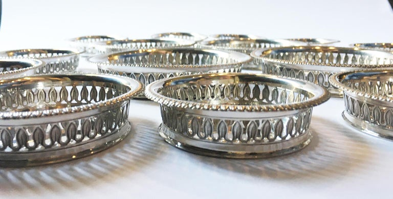 19th Century Italian Sterling Silver Glass and Wine Coasters, circa 1830 For Sale 10