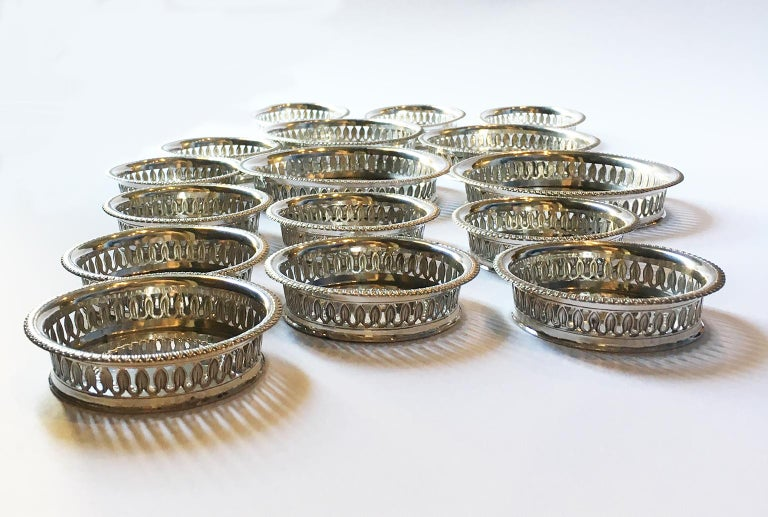 19th Century Italian Sterling Silver Glass and Wine Coasters, circa 1830 For Sale 11