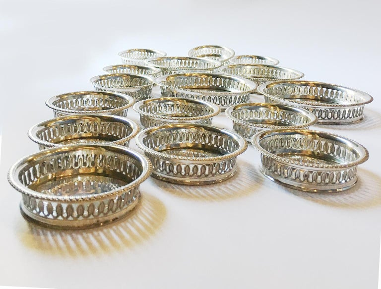 19th Century Italian Sterling Silver Glass and Wine Coasters, circa 1830 For Sale 12