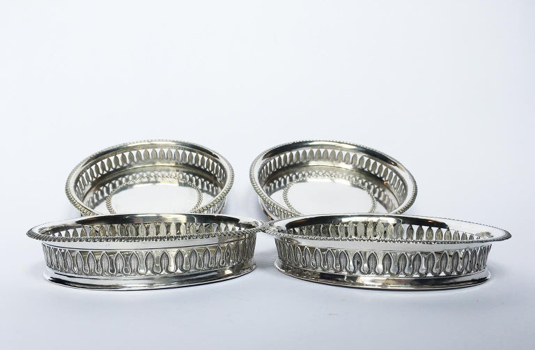 19th Century Italian Sterling Silver Glass and Wine Coasters, circa 1830 For Sale 1