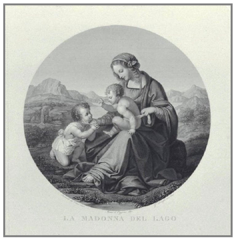Embossed and engraved silver plaque La Madonna del lago (The Madonna of the Lake) Probably Milan, post 1824 Brass frame It measures 16.14 in x 13.85 in (41 x 35.2 cm) and it weighs 10.357 pounds (4.698 g): silver 1.31 pounds (598 g) + brass 9.03