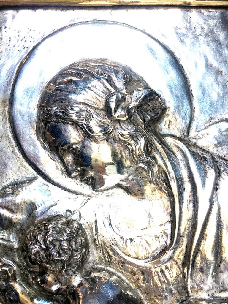 Embossed 19th Century Italian Sterling Silver Madonna, circa 1830 For Sale