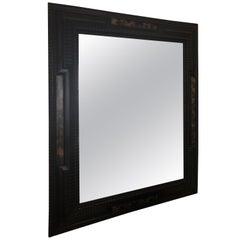 19th Century Italian Style Ebonized and Faux Tortoise Frame Mirror
