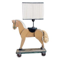 19th Century Italian Table Lamp Made with Wooden Horse Children's Toy, 1890s