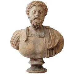 19th Century Italian Terra Cotta Clay Bust of Marco Aurelio