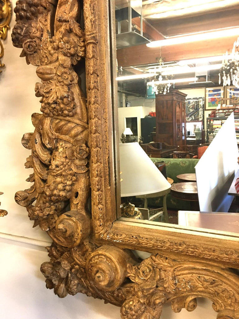 18th Century and Earlier 19th Century Italian Three Dimensionally Carved Mirror, circa 1880 For Sale