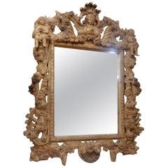 19th Century Italian Three Dimensionally Carved Mirror, circa 1880