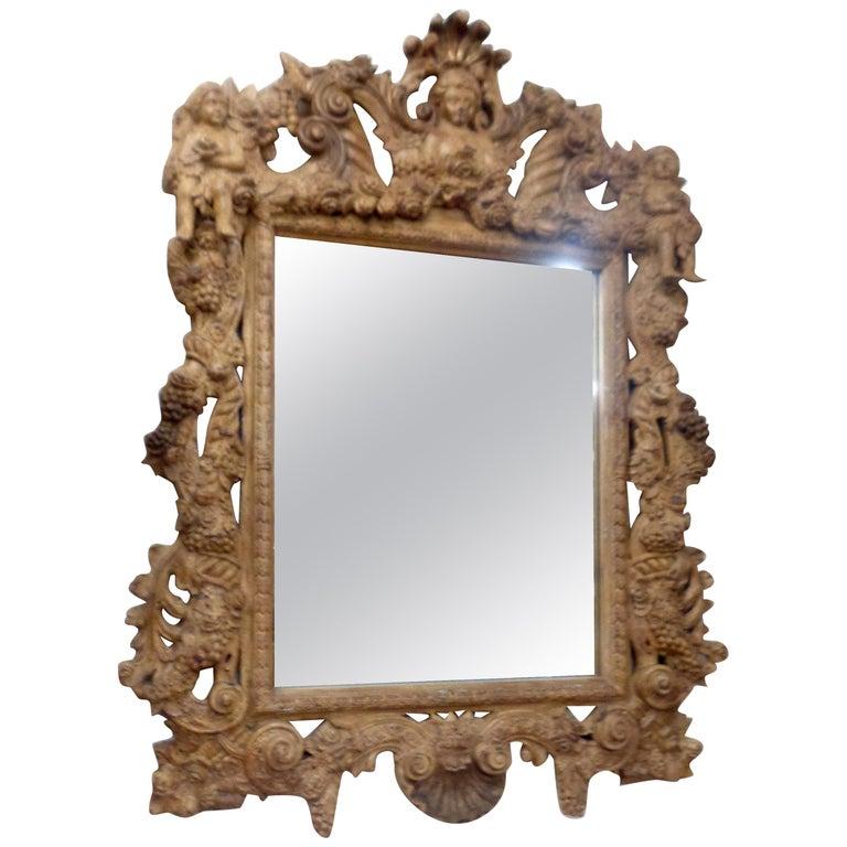 19th Century Italian Three Dimensionally Carved Mirror, circa 1880 For Sale