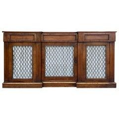 19th Century Italian Three-Door Credenza, Gilt Detail, Wire Doors