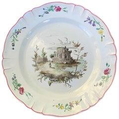 19th Century Italian Tin Glazed White Porcelain Charger, Neoclassical Scene