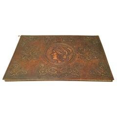 19th Century Italian Tooled Leather Desk Blotter