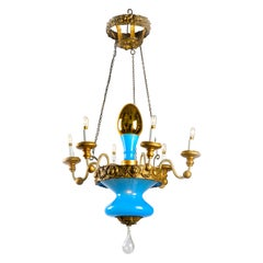 19th Century Italian Glass Chandelier from Tuscany Turquoise Gold Glass Pendant