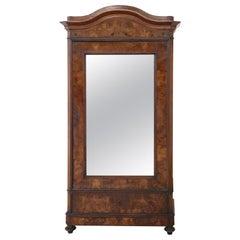 19th Century Italian Veneered Walnut Wardrobe or Armoire with Mirror