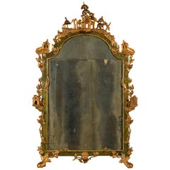 19th Century, Italian Venetian Gilded Lacquered Wood Mirror