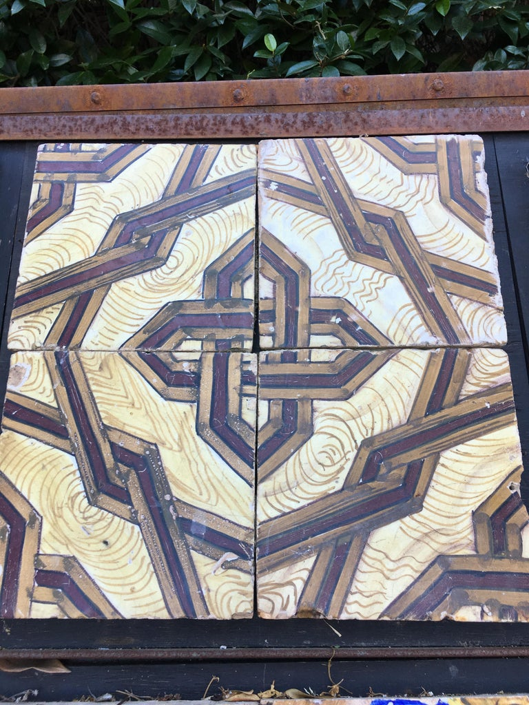19th century, Italian vintage reclaimed decorated tiles. 26 pieces available, approximately 1 sqm