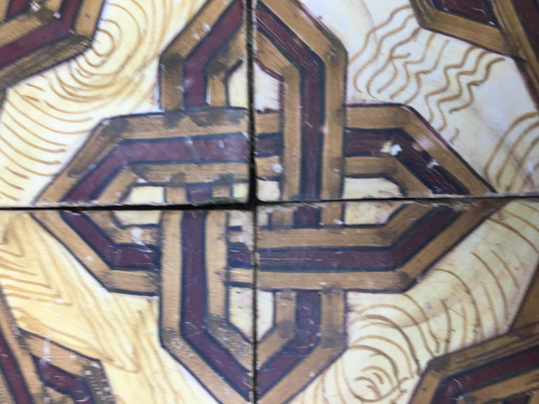 Neoclassical 19th Century, Italian Vintage Reclaimed Decorated Tiles For Sale