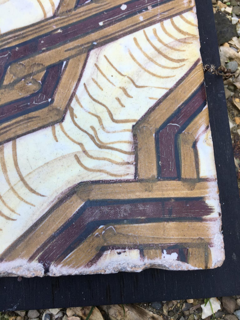 19th Century, Italian Vintage Reclaimed Decorated Tiles In Good Condition For Sale In Florence, IT