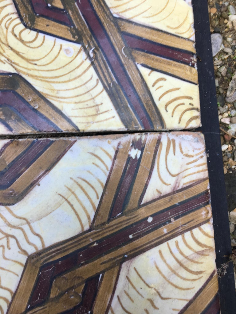 Late 19th Century 19th Century, Italian Vintage Reclaimed Decorated Tiles For Sale