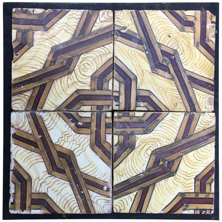 19th Century, Italian Vintage Reclaimed Decorated Tiles For Sale
