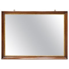 19th Century Italian Walnut Large Wall Mirror