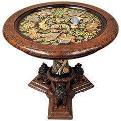 19th century Italian Walnut and Majolica Centre Table