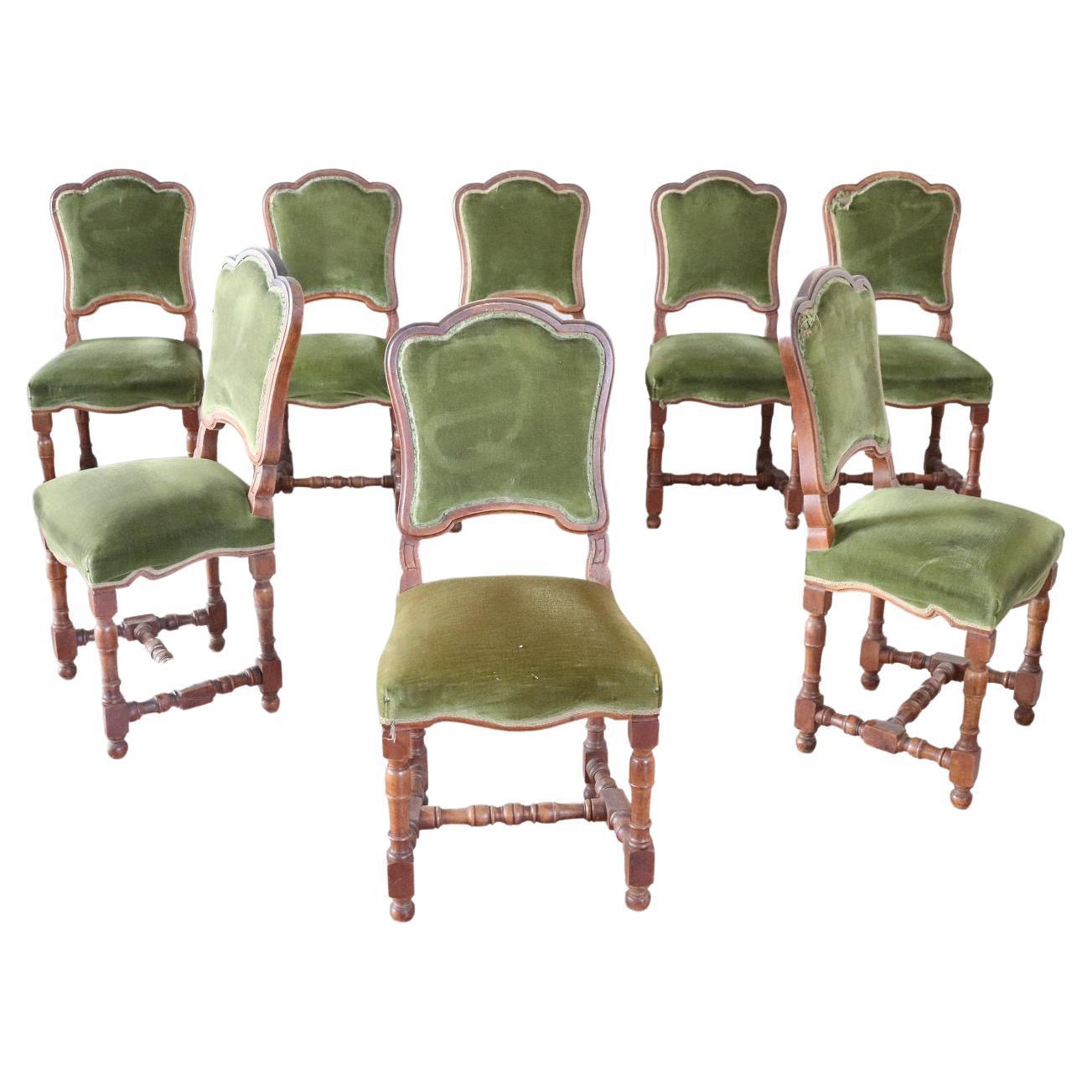 19th Century Italian Walnut Antique Dining Room Chairs, Set of Eight